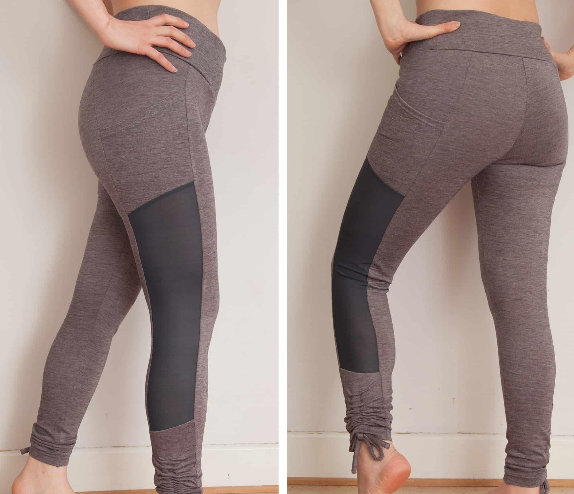Yoga leggings with mesh inserts and ties | Last Stitch