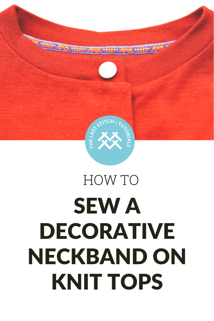 Attaching twill tape to a t-shirt or cardigan neckline: A sewing tutorial for knits on how to  cover the seam allowance on knit tops.