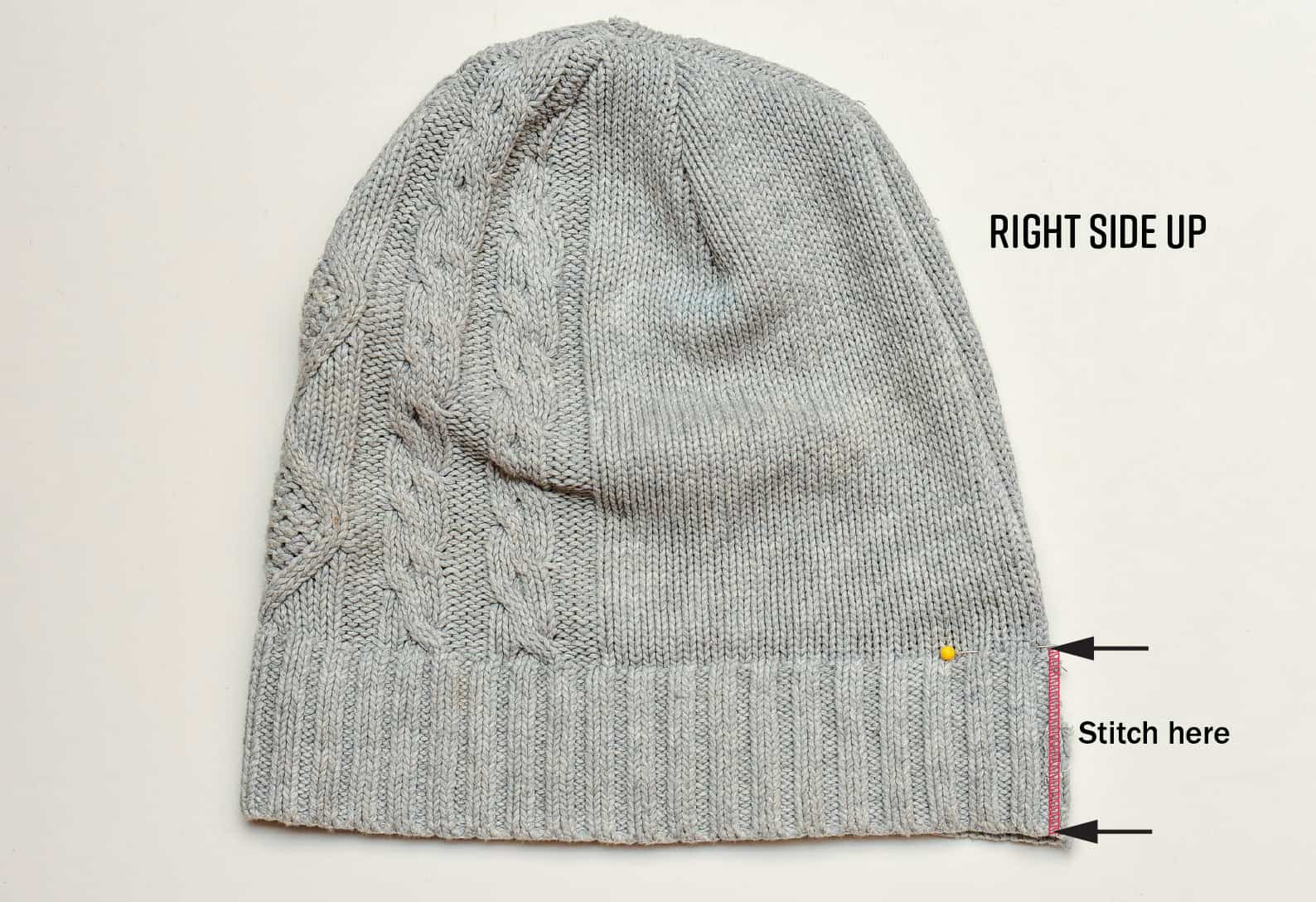 How to sew a knit hat beanie