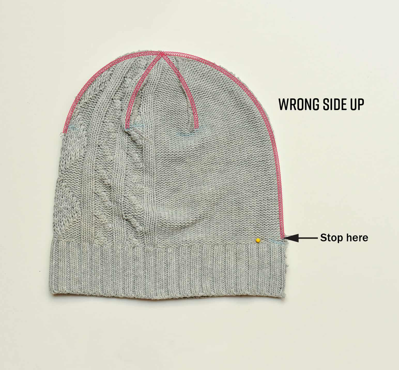 How to sew a knit hat beanie using a sweater sewing tutorial